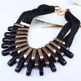 Necklace Collares Multilayer Chain Gold Plated Geometric Big Bid Statement Necklace