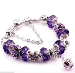 Glass Crown Charm Bracelets