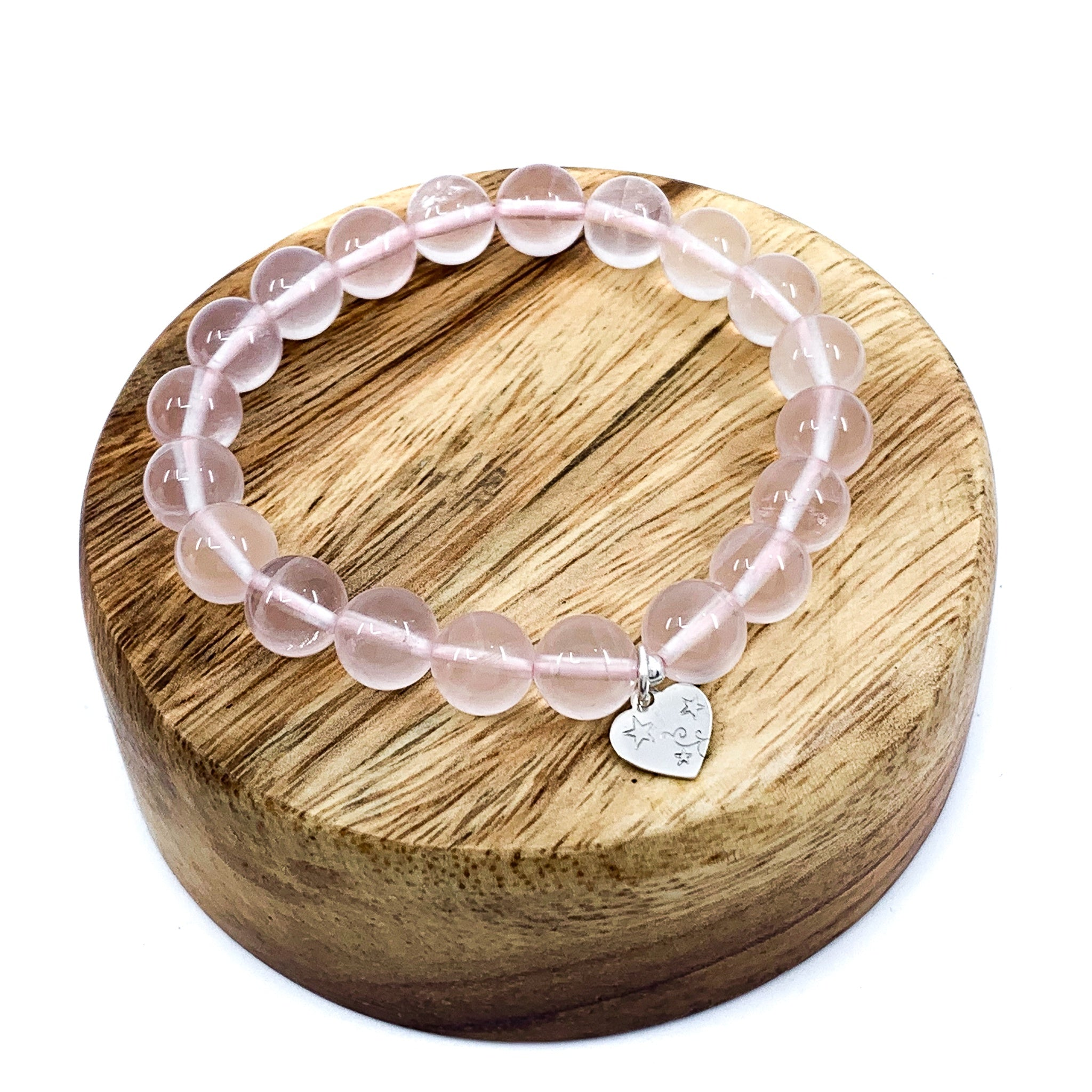 Rose Quartz Stretchy Cord Bracelet - 10mm Smooth Round