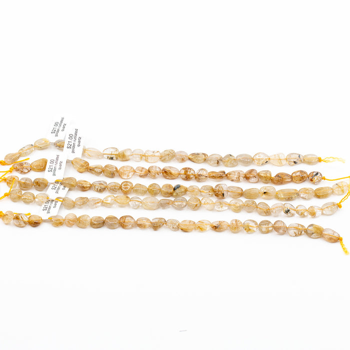 Gold Rutilated Quartz Strand - 8x10mm & 9x12mm Tumbled Long-Drill Nugget