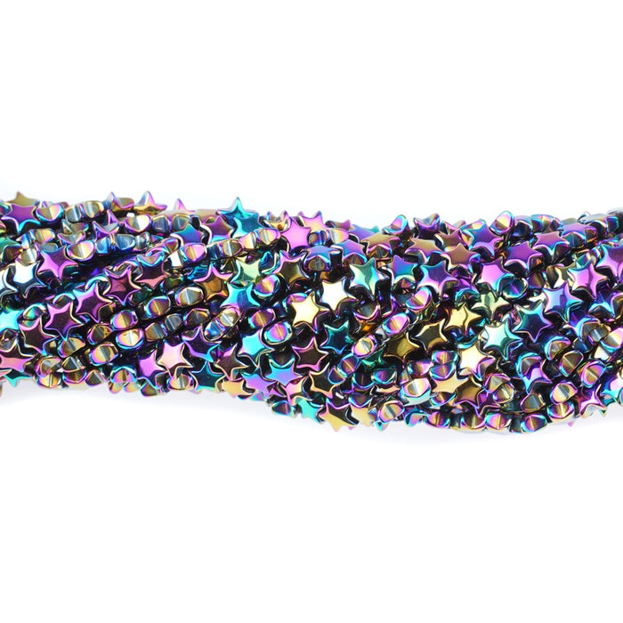 Rainbow Iris Plated Hematite Strand||6mm Star