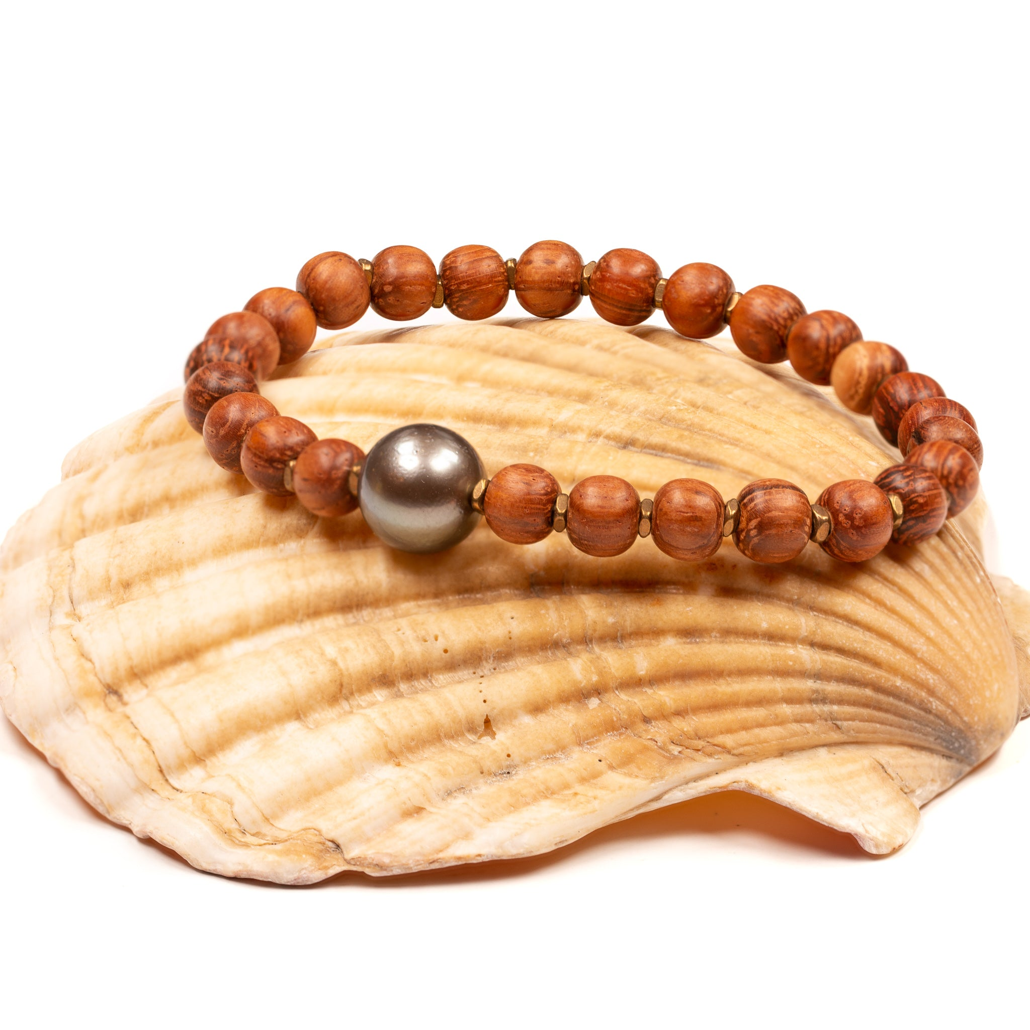 Mauka to Makai: Wood & Tahitian Pearl Stretchy Cord Bracelet Kit