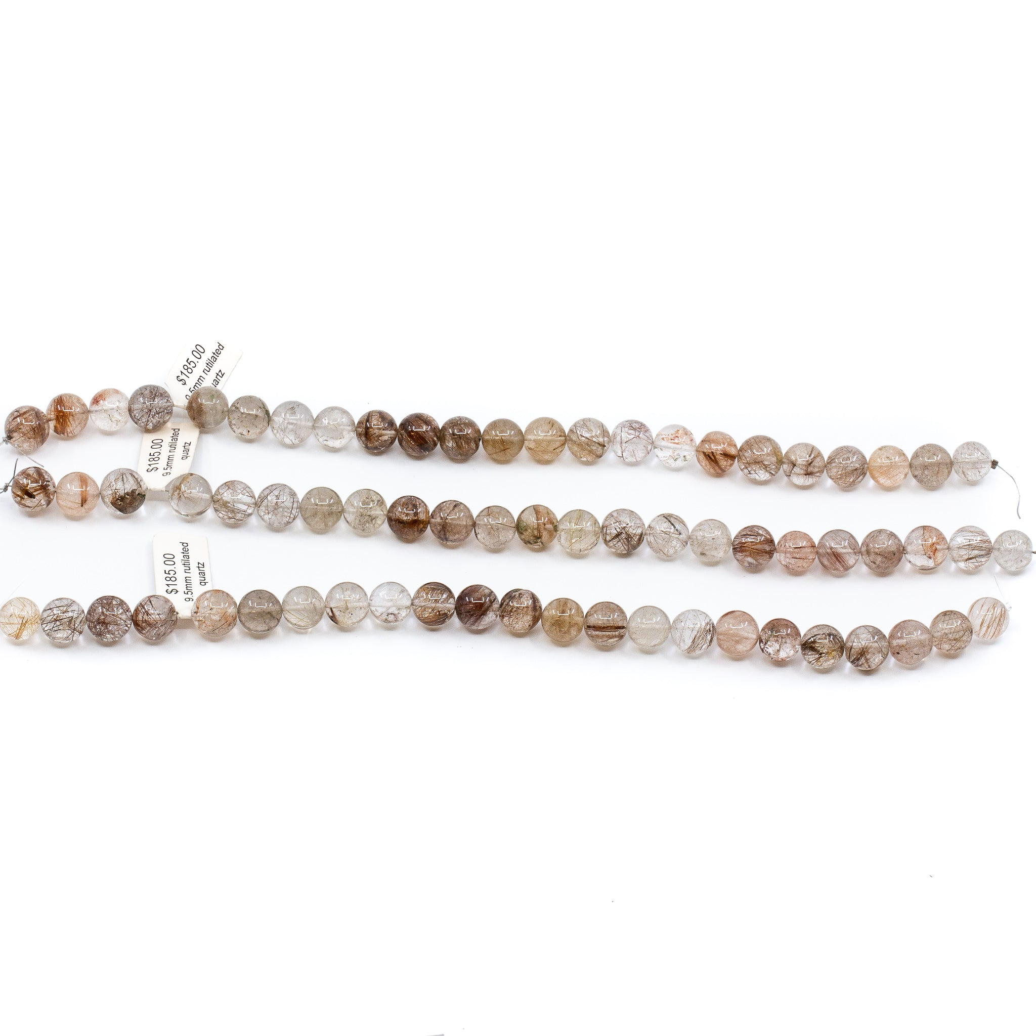 Rutilated Quartz Strand - 9.5mm Smooth Round