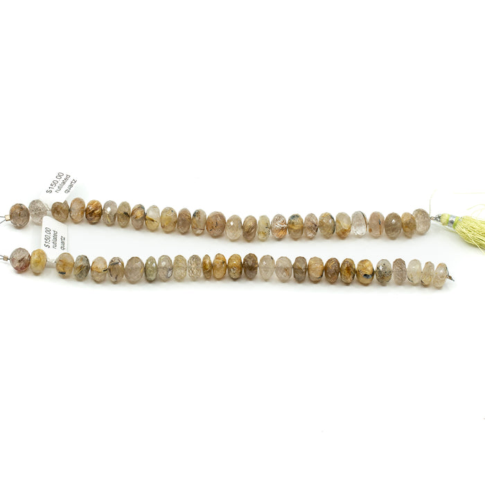 Rutilated Quartz Strand - 10mm Faceted Rondelle