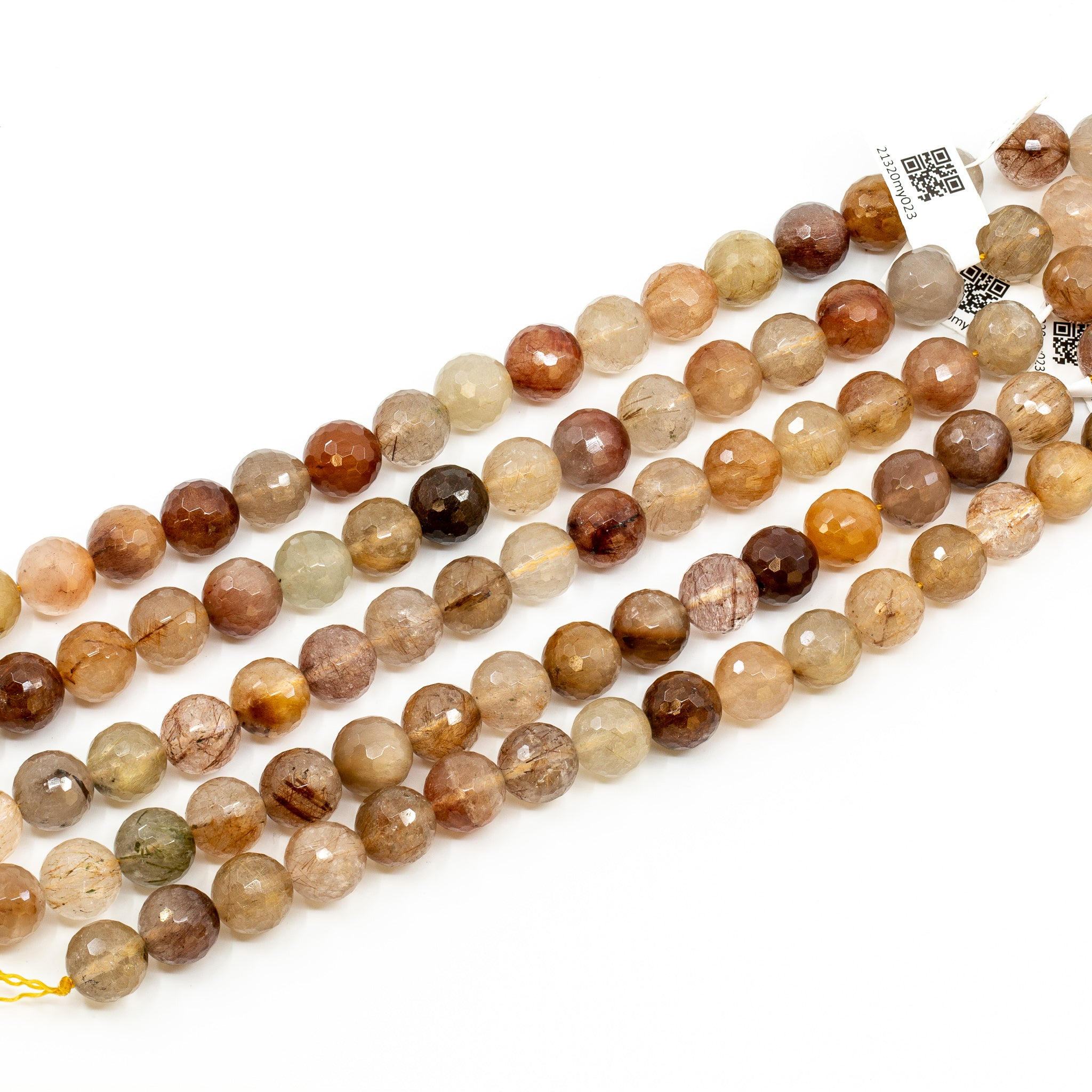 Assorted Rutilated Quartz Strand - 11mm Faceted Round