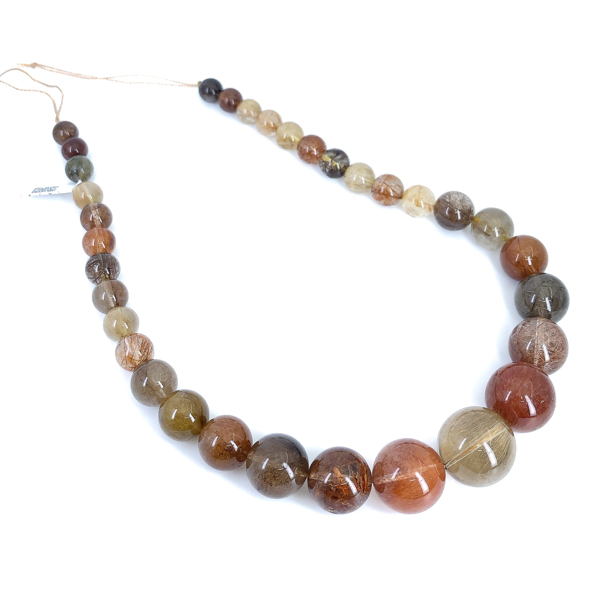 Multicolor Rutilated Quartz Full Strand - 8-20mm Graduated Smooth Round
