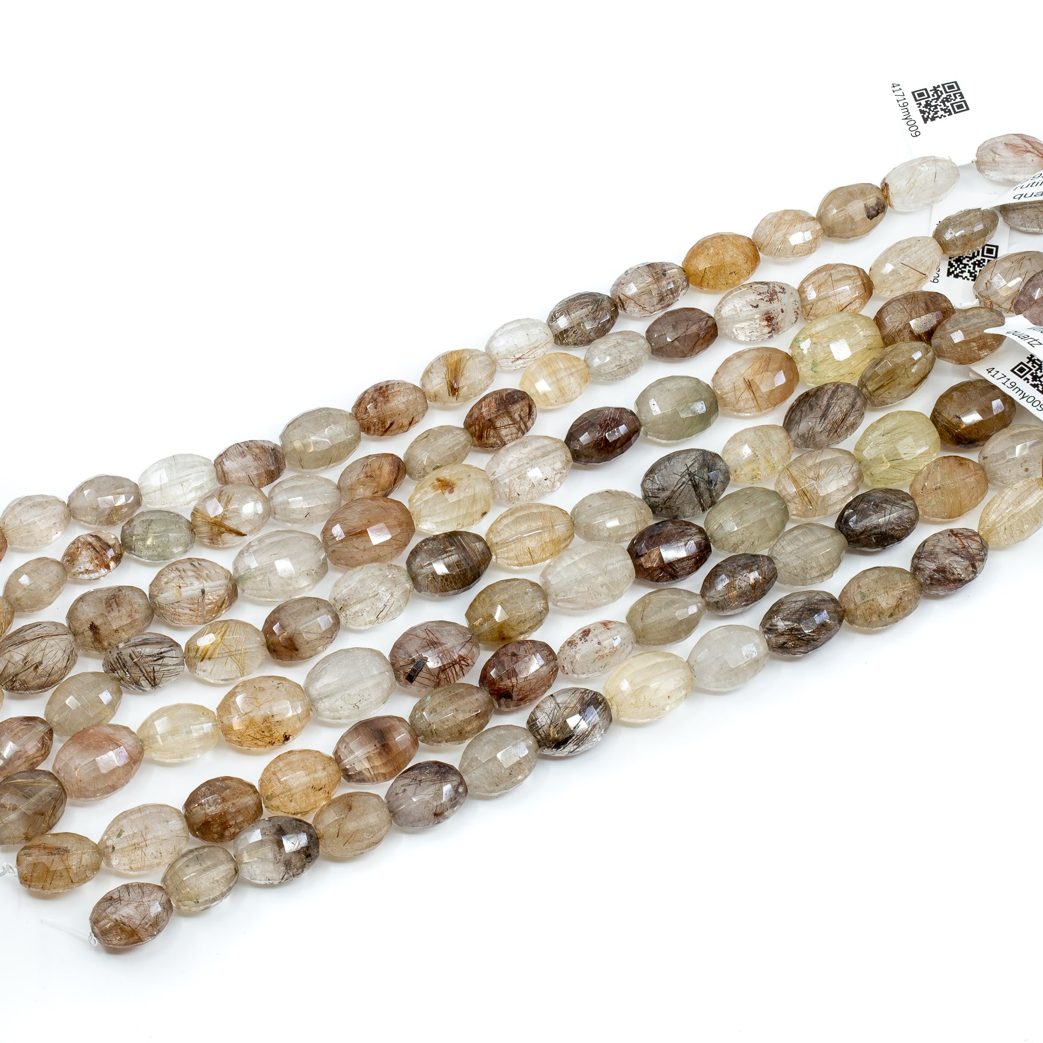 Rutilated Quartz Strand - 10x14mm Oval Rectangle Faceted Long-Drill