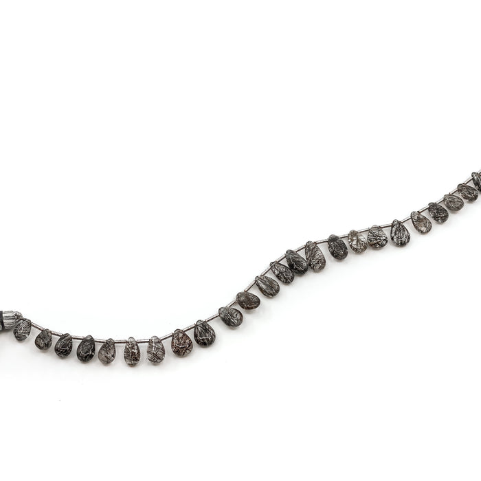 Tourmalinated Quartz Strand - 5-6mm x 8-11mm Tip-Drill Pear Briolette