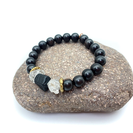 Power Bracelet Kit - Black Tourmaline  & Herkimer Quartz