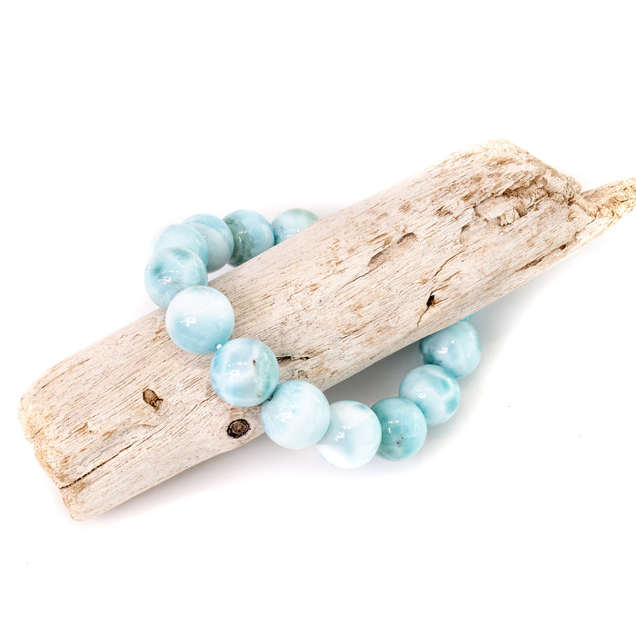 Larimar Stretchy Cord Bracelet - 13mm Smooth Round