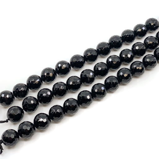 Black Tourmaline Strand - 14mm Faceted Round