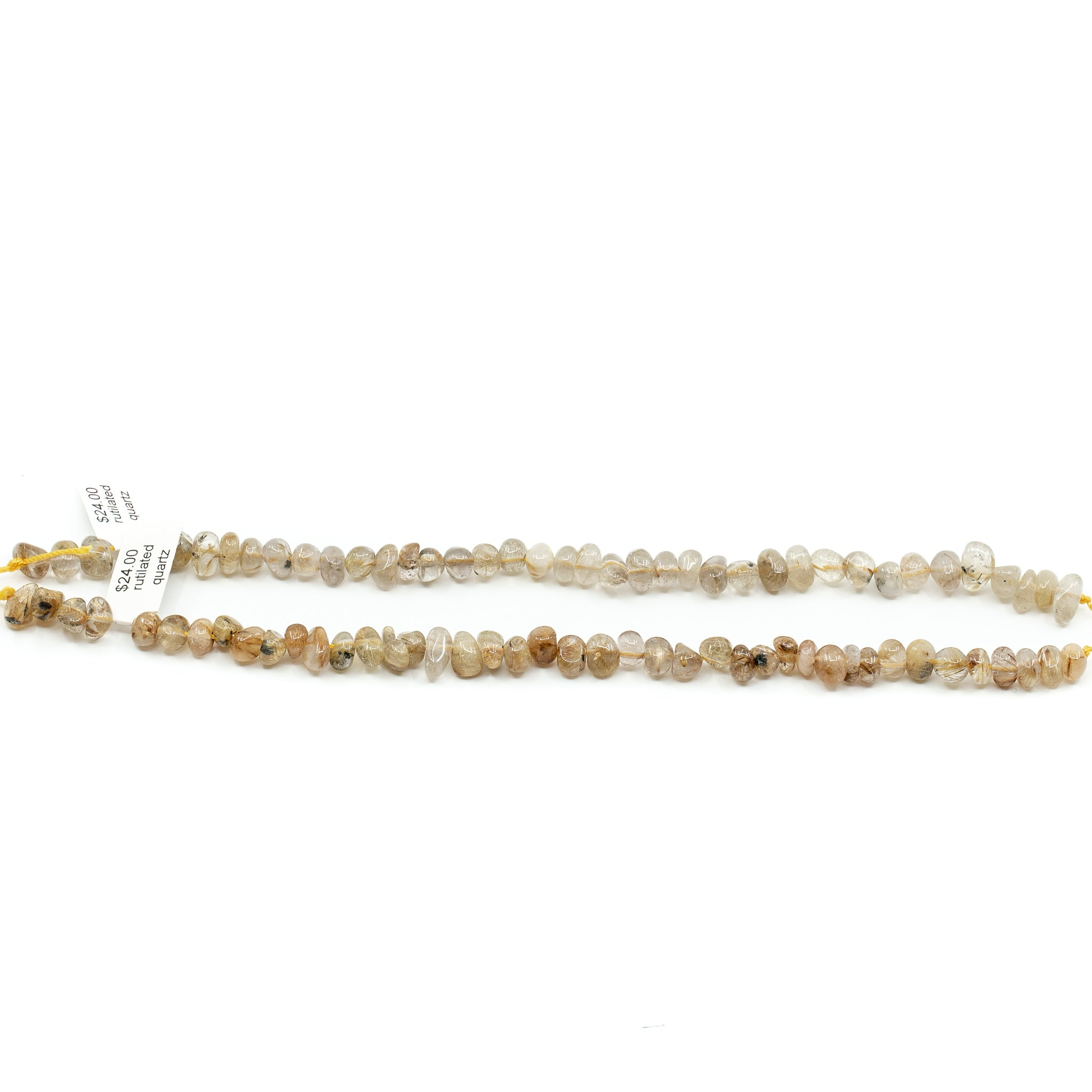Gold Rutilated Quartz Strand - 11x5mm Tumbled Chubby Chip