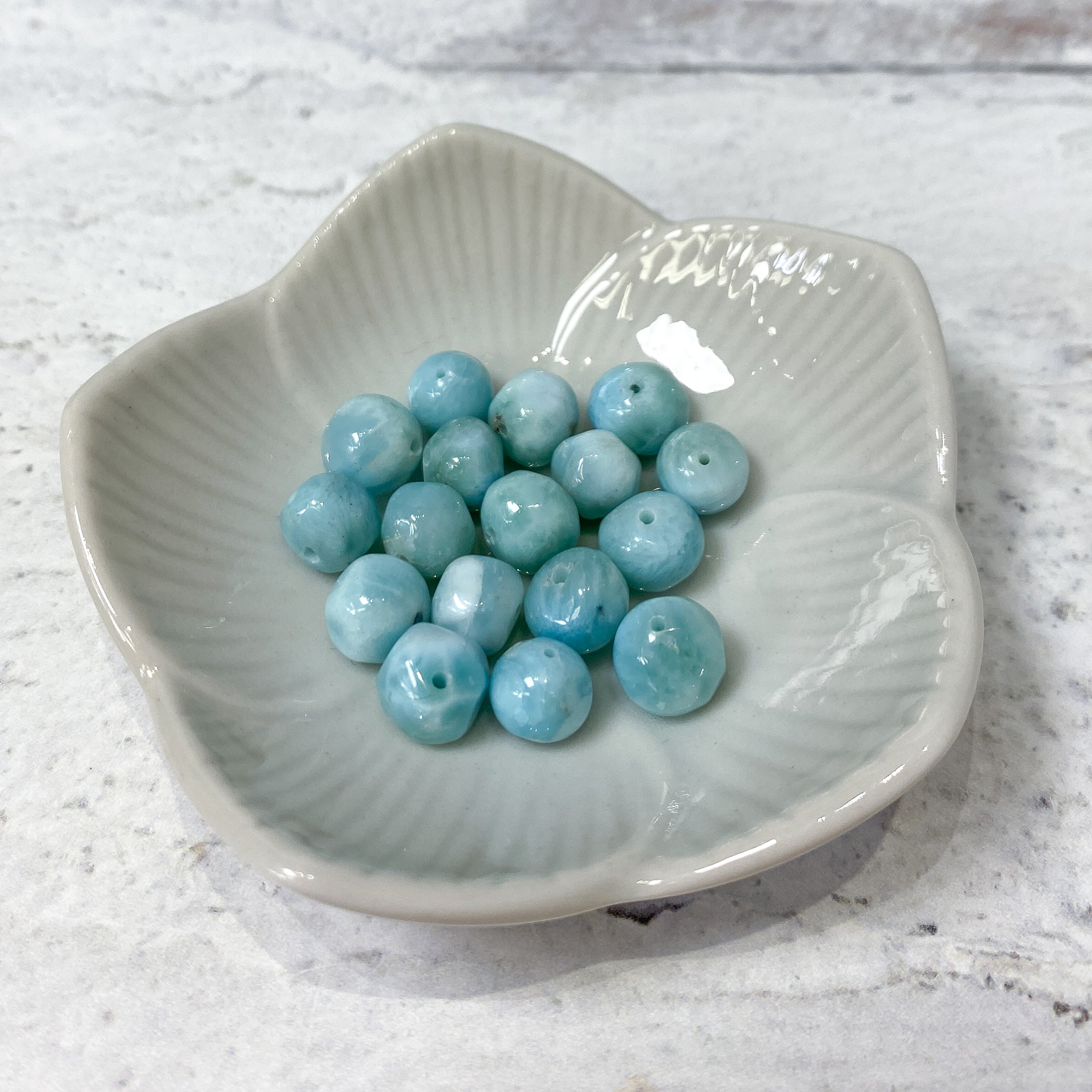 Larimar Bead - 7mm Irregular Soft Round