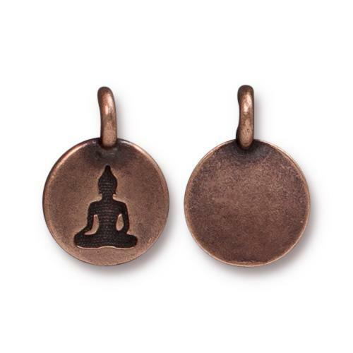 Buddha Coin - Antique Copper Plated Charm (2 pc.)