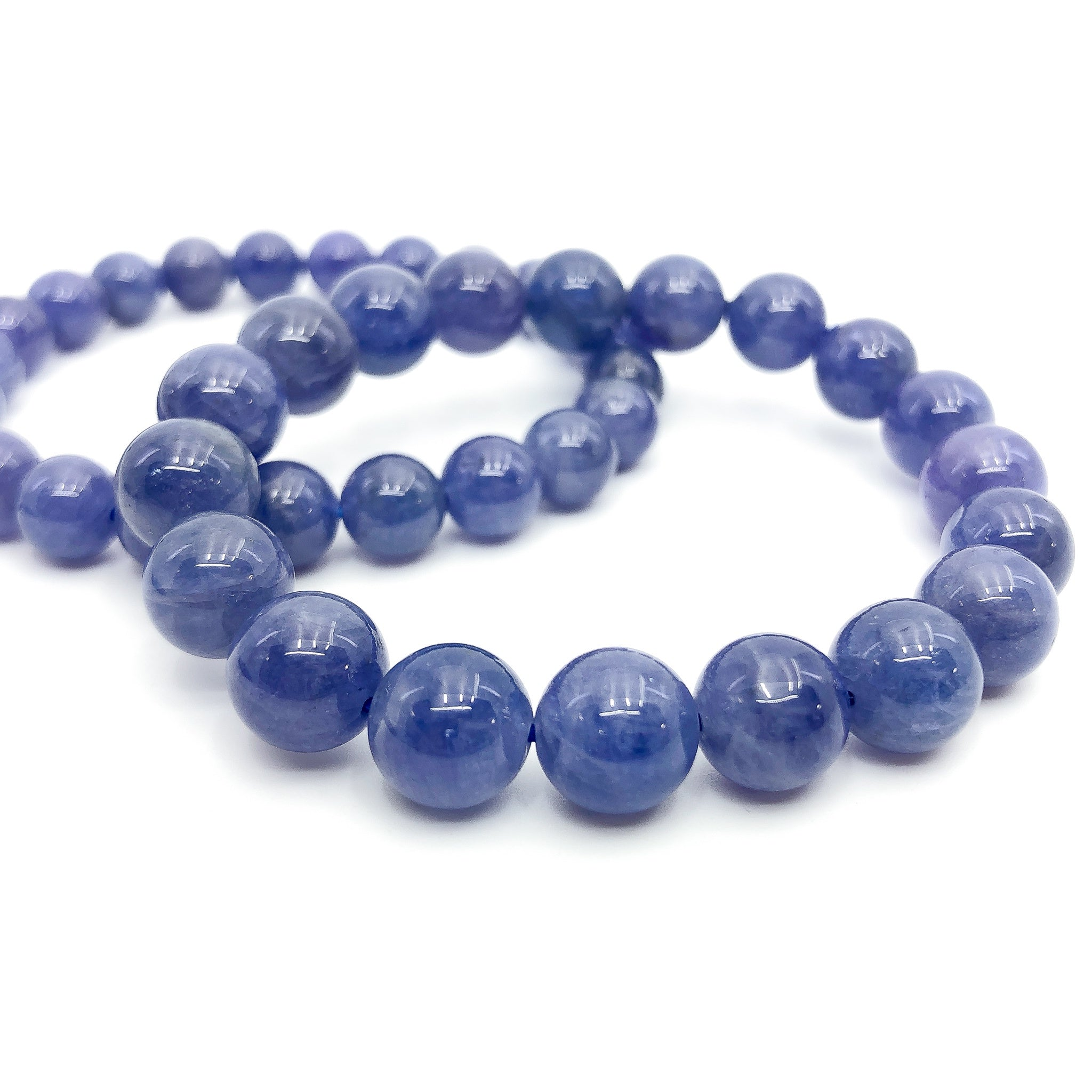 Tanzanite Stretchy Cord Bracelet - 9mm Smooth Round