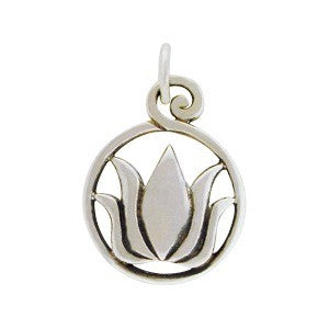 Framed Lotus In Bloom Charm - Sterling Silver
