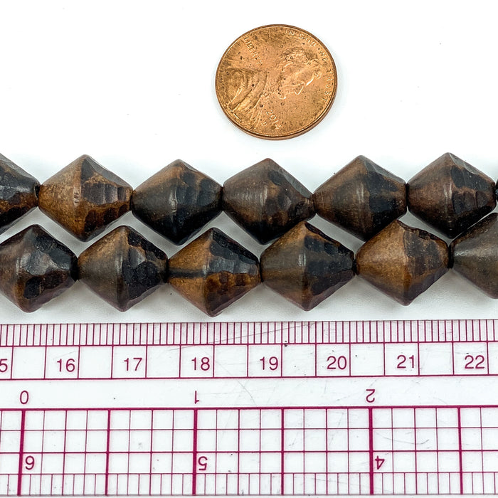 Faceted Tiger Ebony Wood Strand - 14mm Bicone