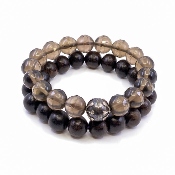 Smoky Quartz and Wood Stretchy Cord Bracelets (2) - Focus & Ground