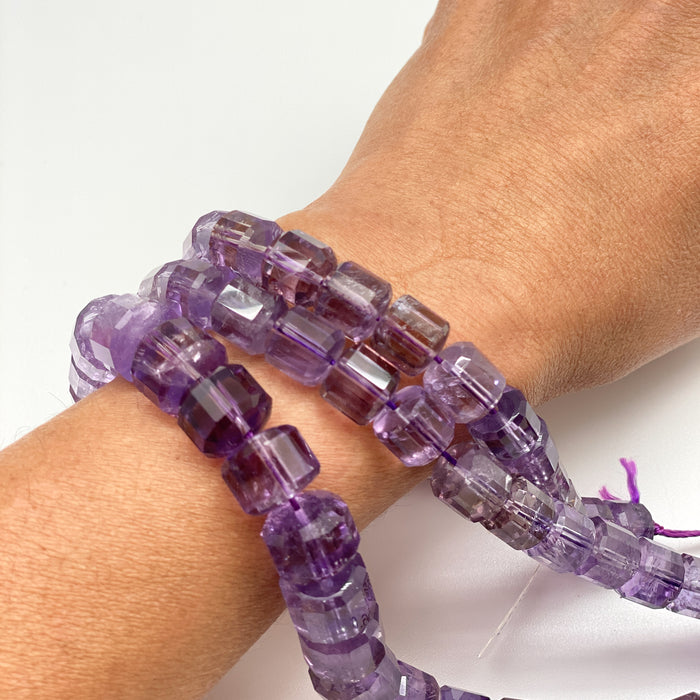 Amethyst Strand - 12 x 10mm Faceted Cylinder