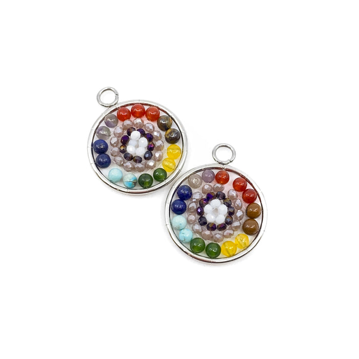 Mixed Gemstone Mandala Pendant - Stainless Steel