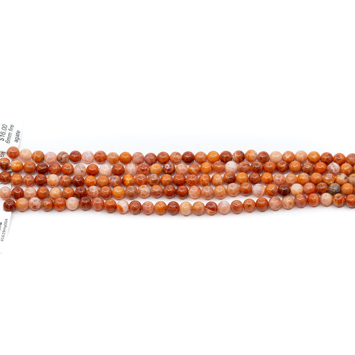 Fire Agate Strand - 6mm Round