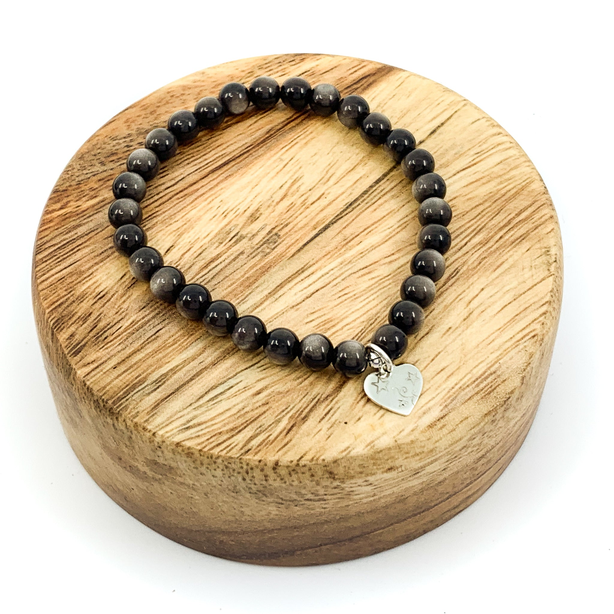 Silver Sheen Obsidian Stretchy Cord Bracelet - 6mm Round
