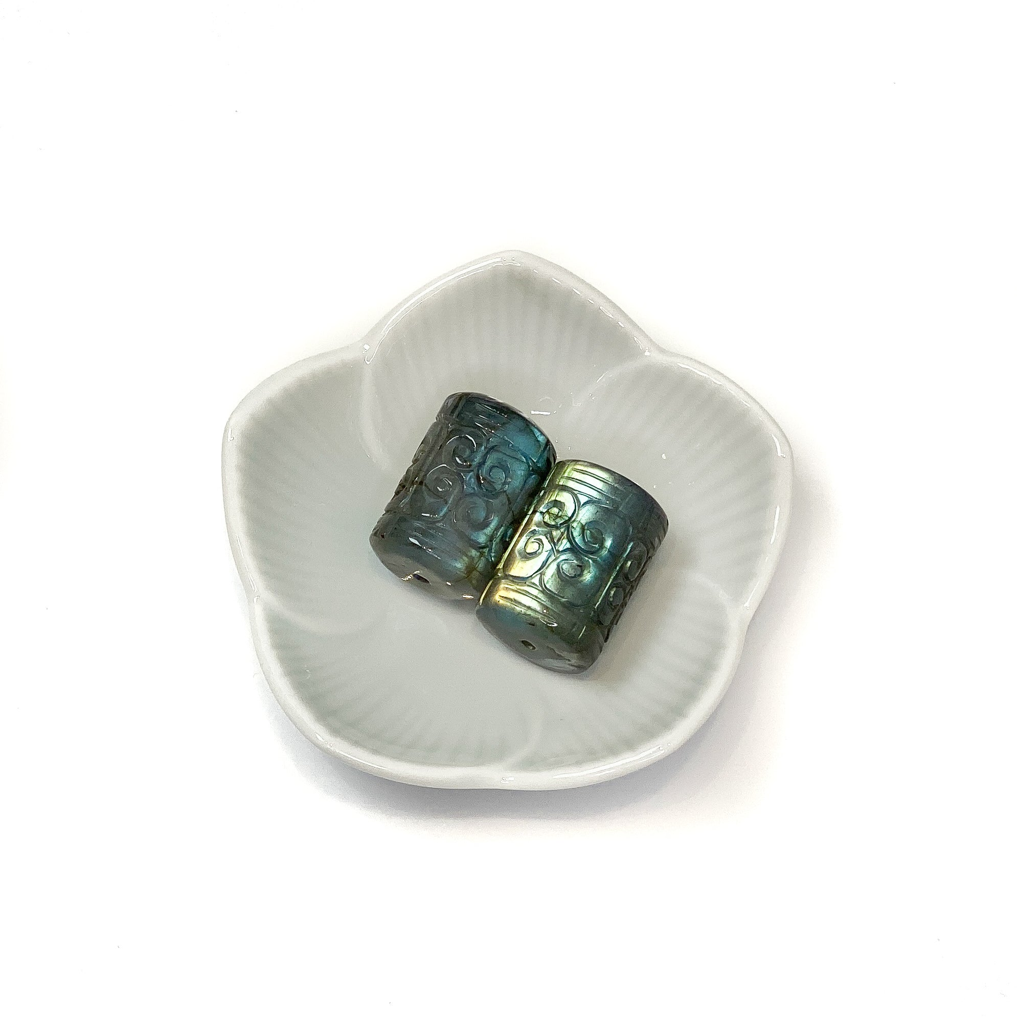 Labradorite Bead - 23mm Cloud Carved Cylinder Focal
