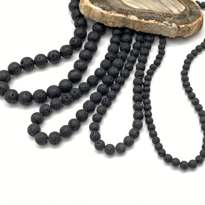 8mm Black Lava Round - Strand