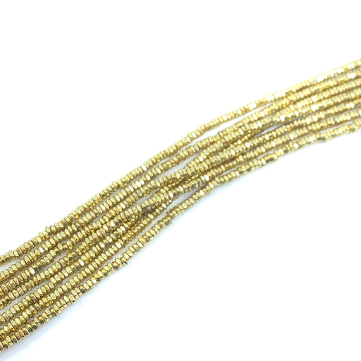 3mm Rustic Square Spacer Strand - Gold Plated Brass