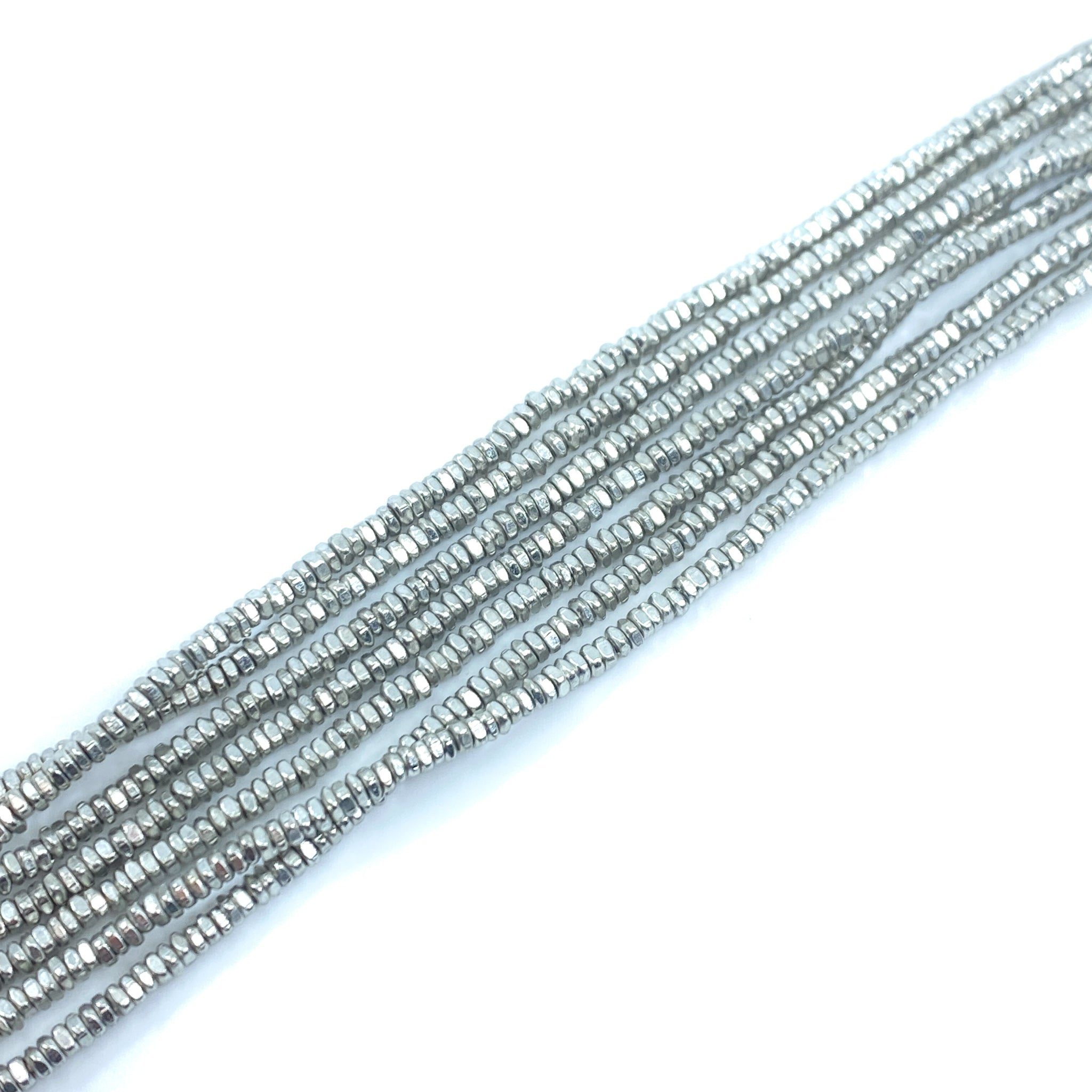 3mm Rustic Square Spacer Strand - Silver Plated Brass