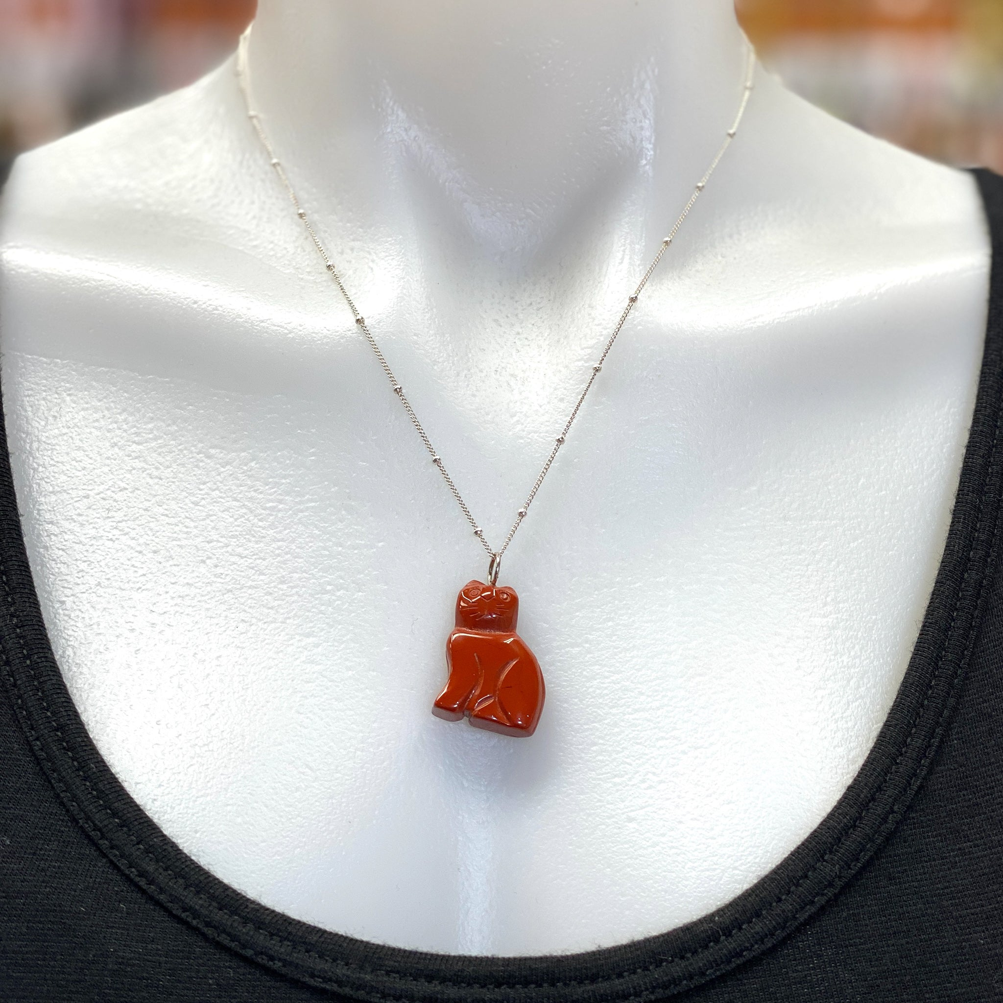 Red Jasper Carved Cat Pendant - Silver Tone Loop