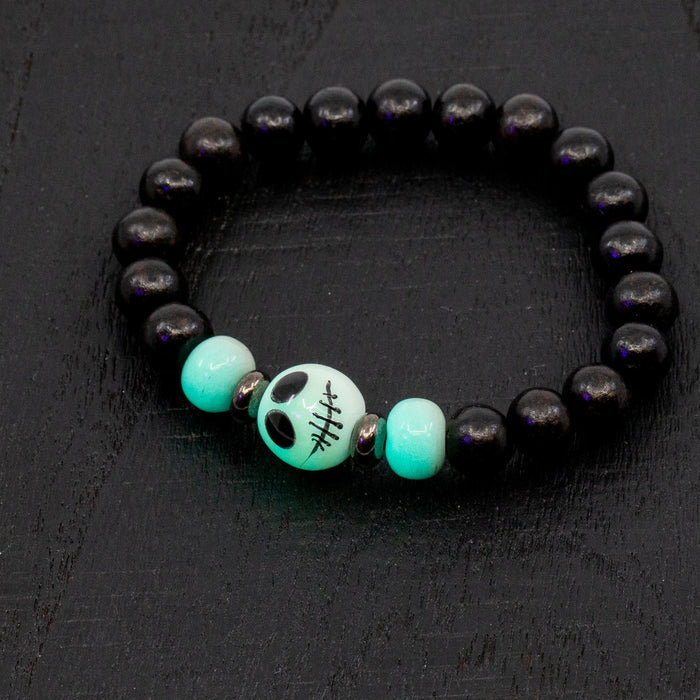 MADE TO ORDER: Glow-In-The-Dark Skellington/Ghostie Stretchy Cord Bracelet Kit