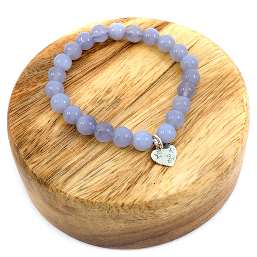 Blue Chalcedony Stretchy Cord Bracelet - 8mm Smooth Round Cord  with FREE $15 Charm