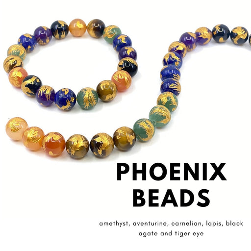 12mm Mixed Gemstone Strand - PHOENIX
