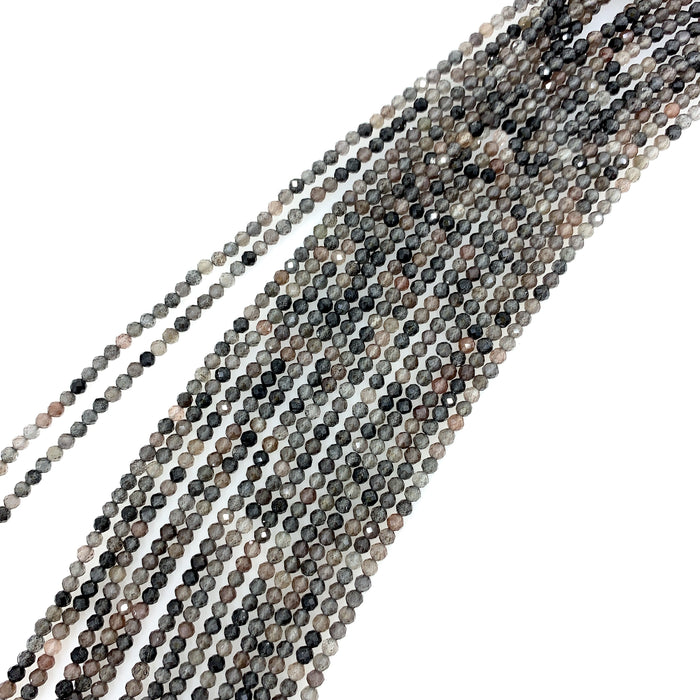 Black Moonstone Strand - 3mm Faceted Round