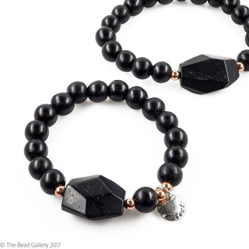 Black Tourmaline Stretchy Cord Bracelet - Protect