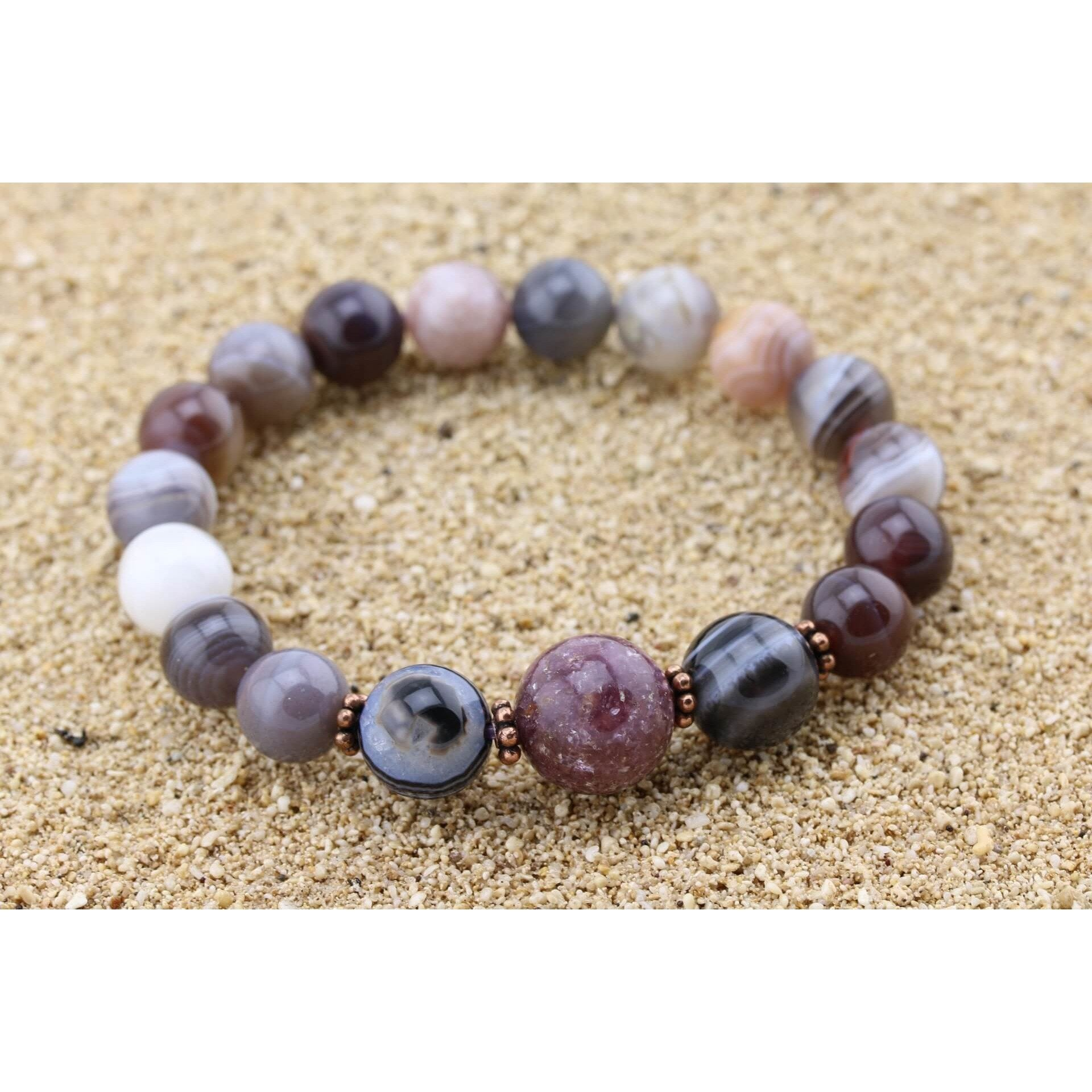 Botswana Agate Stretchy Cord Bracelet - Support!