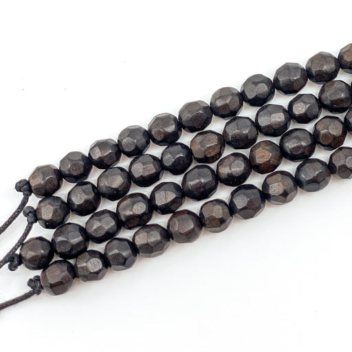 Faceted Ebony Wood Strand - 8mm Round