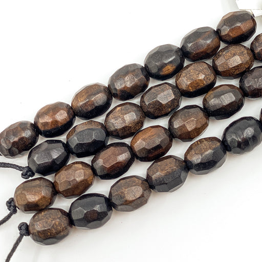 Faceted Tiger Ebony Wood Strand - 10x14mm Oval