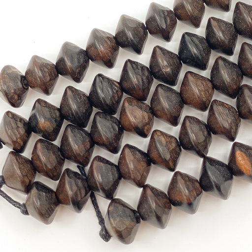 Faceted Tiger Ebony Wood Strand - 13mm Saucer