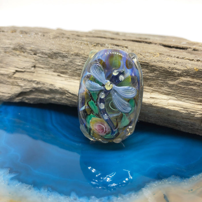Lt. Blue Dragonfly on Yellow Lampwork Bead by Calvin Orr
