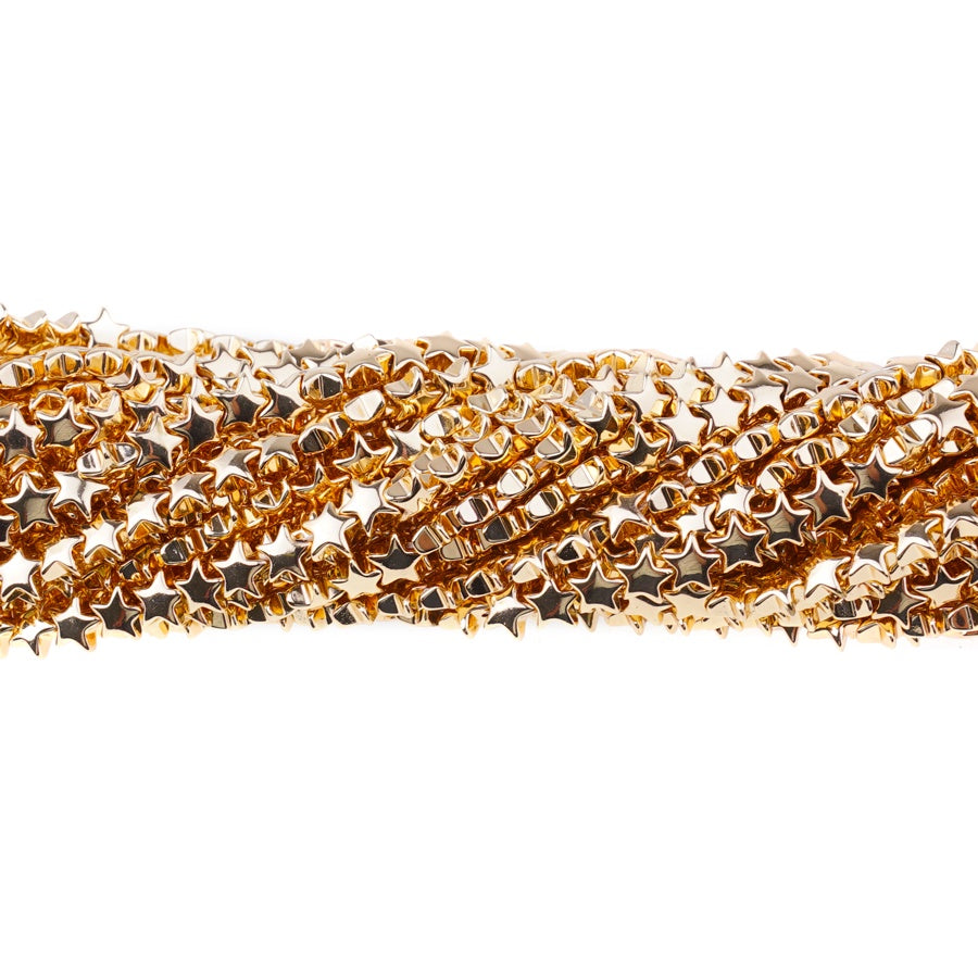 Dark Gold Plated Hematite Strand||6mm Star