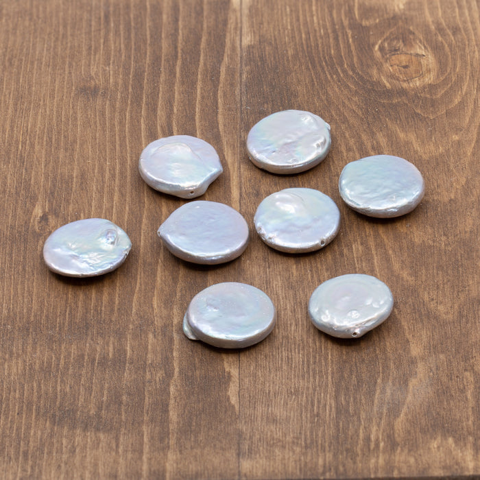 Silver Gray Freshwater Coin Pearl - Bead