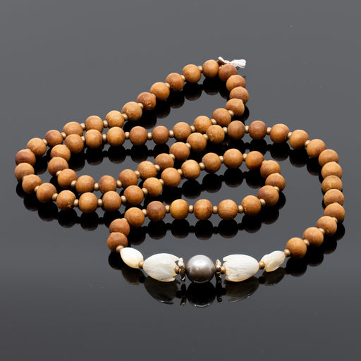 MADE TO ORDER: Pikake & Tahitian Pearl Long Sandalwood Necklace Kit