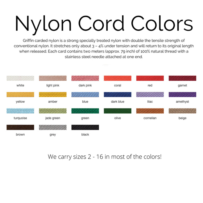 Carded Nylon Bead Cord - #12
