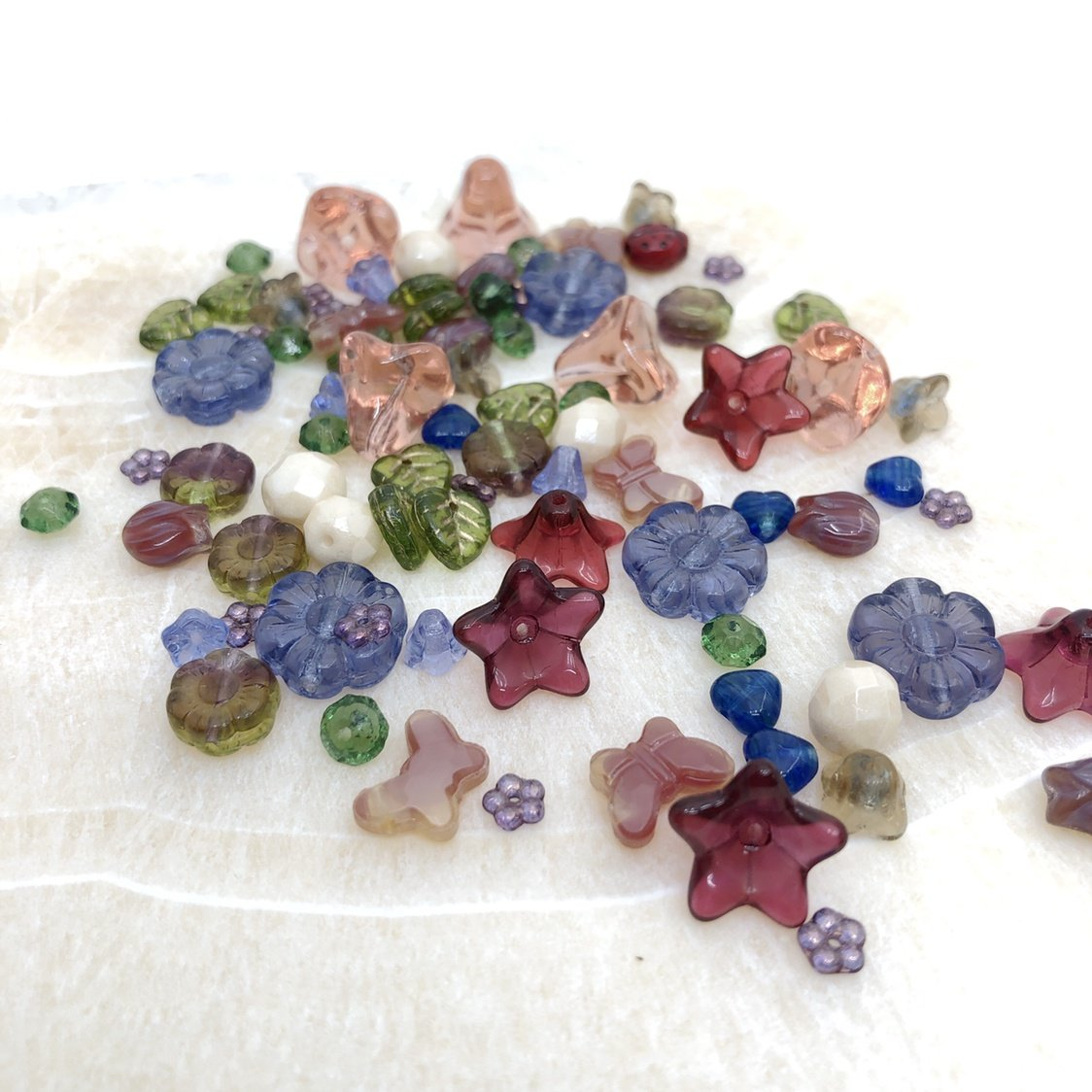 Flower & Leaf Glass Bead Mix - Autumn (80+ pcs.)