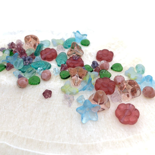 Flower & Leaf Glass Bead Mix - Spring (80+ pcs.