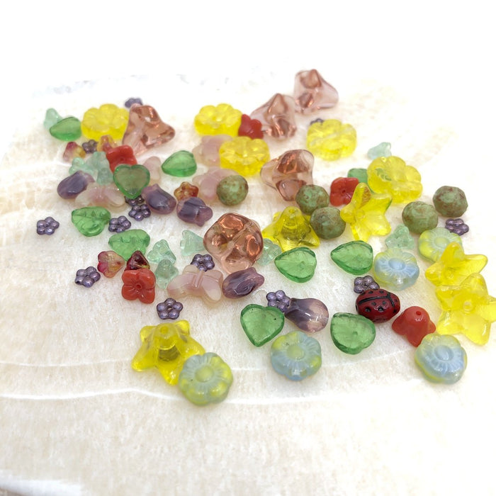 Flower & Leaf Glass Bead Mix - Summer (80+ pcs.)