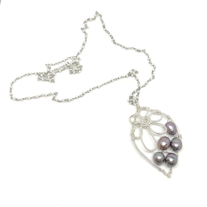 Leaf Pearl Necklace - Freshwater Pearls on the Right