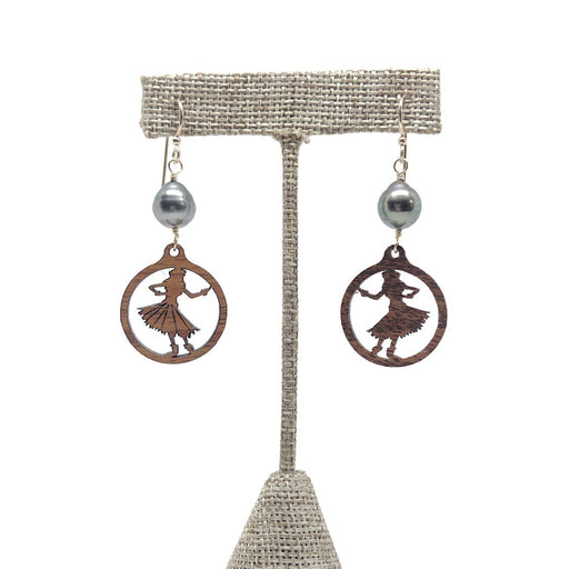 Hula Dancer Earrings with Tahitian Pearls